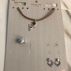 Topshop Semi Precious Choker & Ring & Earrings